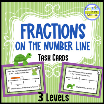 Fractions on a Number Line Task Cards - 3 Levels