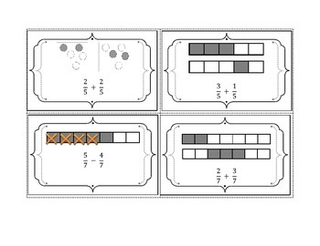 Fractions Operations with Like Denominators Matching Cards