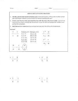 Fractions Operations Packet