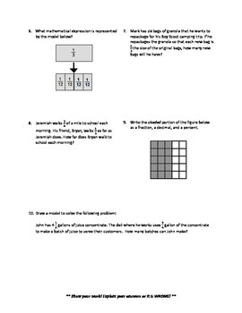 Fractions Operations Quiz