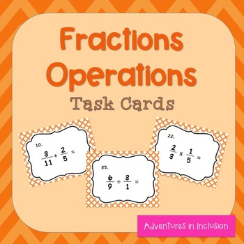 Fractions Operations Task Cards