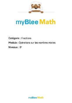 Fractions - Opérations sur les nombres mixtes -6e