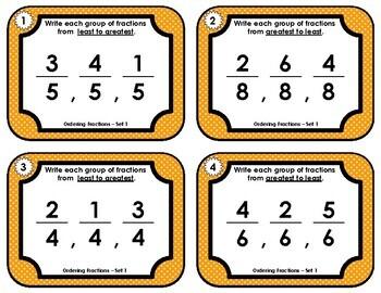 Fraction Task Cards - Ordering Fractions Set 1