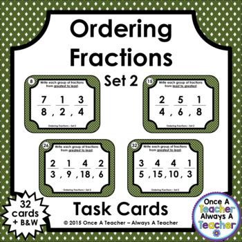 Fraction Task Cards - Ordering Fractions Set 2