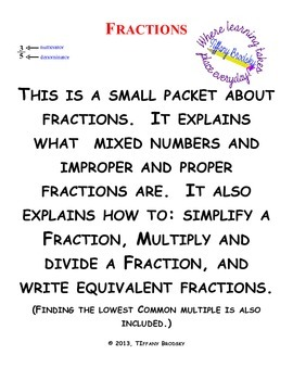 Fractions Packet Explains Types of Fractions and Operations of Fractions