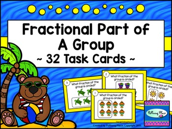 Fraction Task Cards: Fractional Part of a Group - Summer Beach