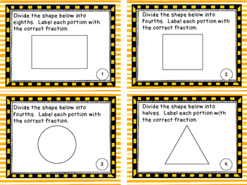 Partitioning Unit Fractions Task Cards