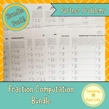 Fractions Partner Problems Combo Pack