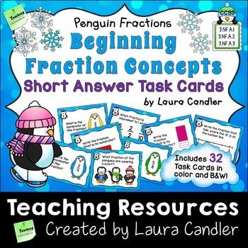 Fraction Task Cards - Short Answer (Basic Penguin Fractions)