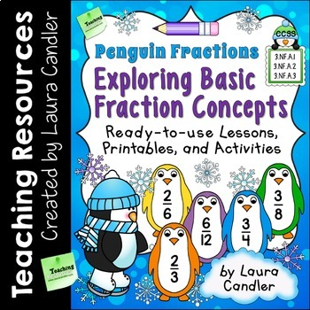 Fraction Lessons, Printables, and Activities (Basic Penguin Fractions)