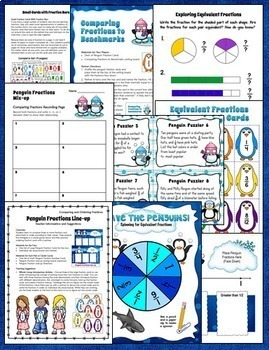 Penguin Fractions Mega Bundle | 3rd and 4th Grade CCSS