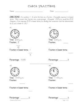 Fractions & Percentages Using Analog Clock Faces