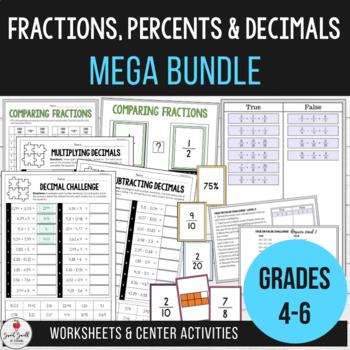 Fractions, Percents & Decimals Mega Bundle by The Sweet ...