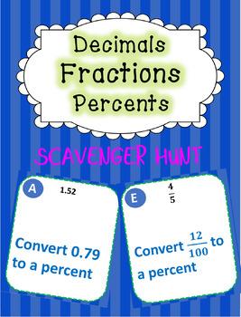 Fractions, Percents, & Decimals Scavenger Hunt