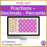 Fractions Percents Decimals Spring Pixel Art Activity