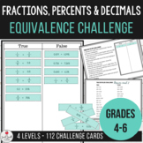Fractions, Percents & Decimals - True or False Equivalence Challenge Cards