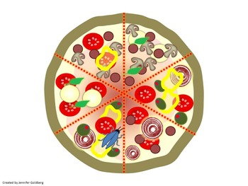 BEGINNER FRACTIONS: Pizza Graphics - 1/2, 1/3, 1/4, 1/5, 1/6, 1/8
