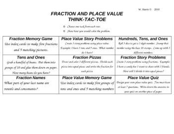Fractions, Place Value, Time, and Money ThinkTacToe
