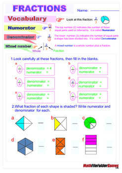 Fractions = Poster/Anchor Chart with Cards & Worksheets