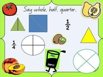 Fractions PowerPoint- whole, half, quarters, 1/2, 1/4