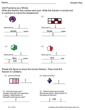 Fractions Practice 2 Worksheets Go Math Third Grade Lesson 8.4