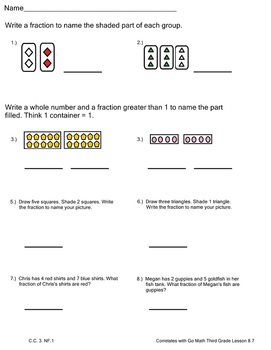 Fractions Practice 2 Worksheets Go Math Third Grade Lesson 8.7