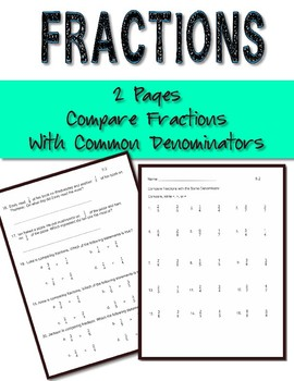Fractions Practice 2 Worksheets Compare fractions w/ like denominators
