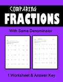 Fractions Practice 1 Worksheet  Compare fractions w/ Same Numerator