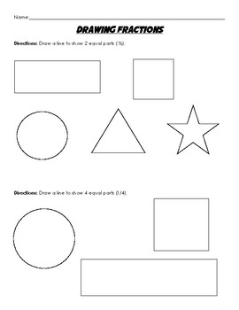Fractions Practice - Drawing Fractions on Shapes