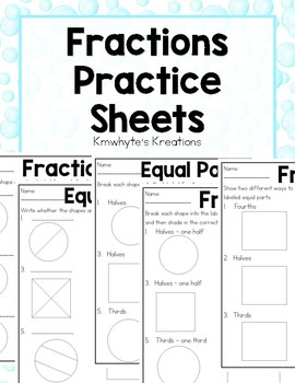 Fractions Practice Sheets and Quizzes