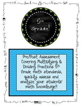 Fractions Pre and Post Assessments BUNDLE