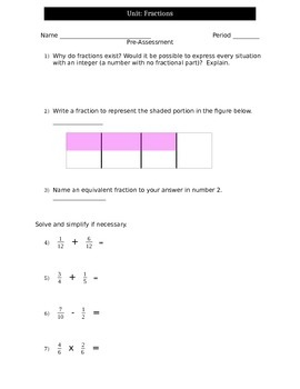 Fractions Pre-test