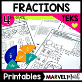 Fractions Printables 4th Grade TEKS by Marvel Math