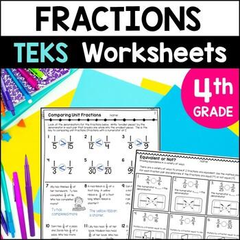 Fractions Printables 4th Grade TEKS by Marvel Math