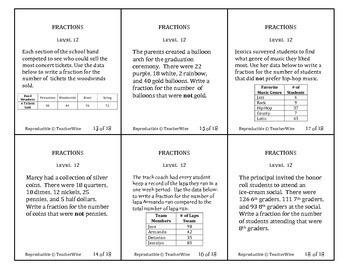 Fractions Problem Solving Task Cards: Level 12  Fractional Parts of Whole