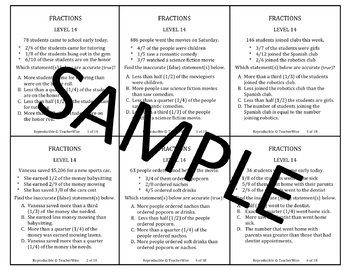 Fractions Problem Solving Task Cards: Level 13: Accurate & Inaccurate Statements