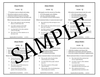 Fraction Problem Solving Task Cards: Level 13 Accurate / Inaccurate  Statements