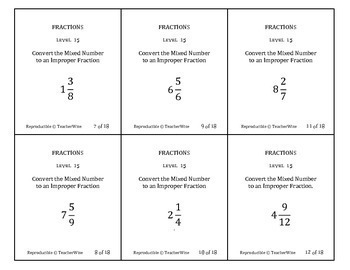 Fractions Problem Solving Task Cards: Level 15 Convert Mixed Numbers