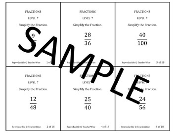 Fractions Problem Solving Task Cards: Level 2 Reducing (Simplifying) Fractions