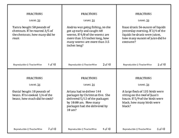 Fractions Problem Solving Task Cards: Level 35 Multiply Fractions & Whole Number