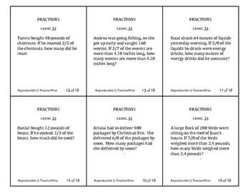 Fraction Problem Solving Task Cards: Level 35 Multiply Fractions & Whole Number