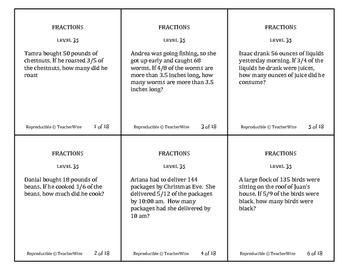 Fractions Problem Solving Task Cards: Level 35 Multiply Fr