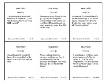 Fractions Problem Solving Task Cards: Level 36 Multiply Fractions Multi-Step
