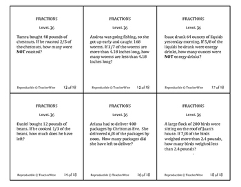 Fraction Problem Solving Task Cards: Level 36 Multiply Fractions Multi-Step