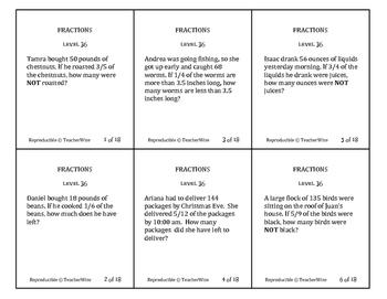 Fractions Problem Solving Task Cards: Level 36 Multiply Fr