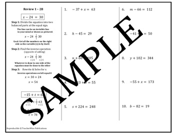 Variable Equation Activities: Addition & Subtraction: Gallery Walk & More