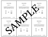 Fraction Problem Solving Task Cards: Level 5 Equivalent Fractions