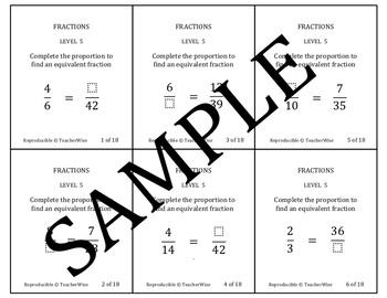Fraction Problem Solving Task Cards Level 5 Equivalent Fractions