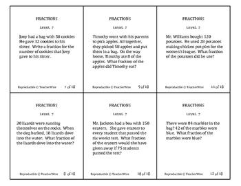Fractions Problem Solving Task Cards: Level 7 Identify & Reduce Fractions