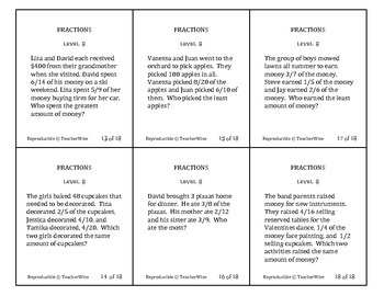 Fractions Problem Solving Task Cards: Level 8 Comparing Fractions Word Problems